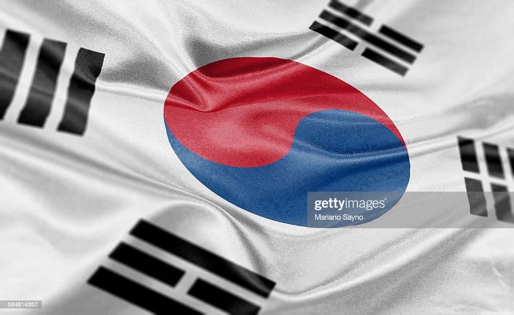 High resolution digital render of South Korea flag : stock illustration