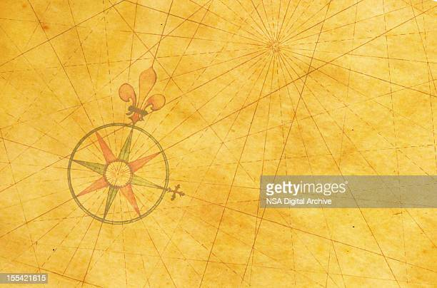 High resolution image of an old compass rose off-centered