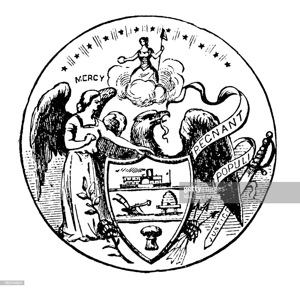 high resolution old state seal of arkansas stock illustration