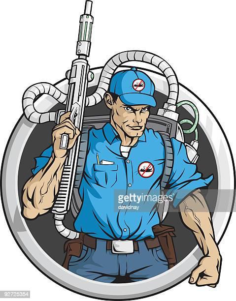 ilustraciones, imágenes clip art, dibujos animados e iconos de stock de exterminador alta tecnología - cucarachas