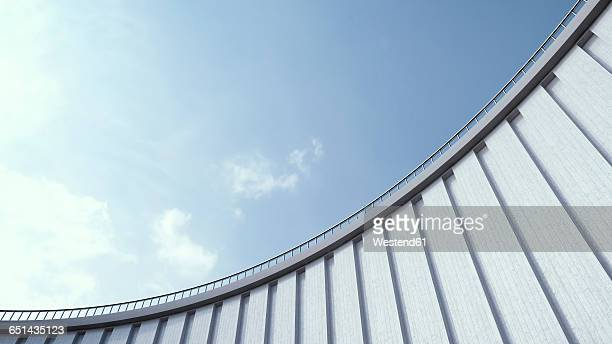 high wall and blue sky, 3d rendering - facade stock illustrations