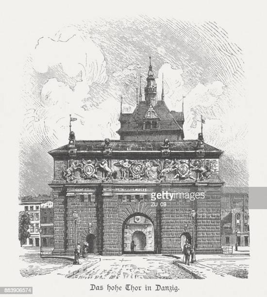 highland gate (1588), gdansk, poland, wood engraving, published in 1884 - gdansk stock illustrations