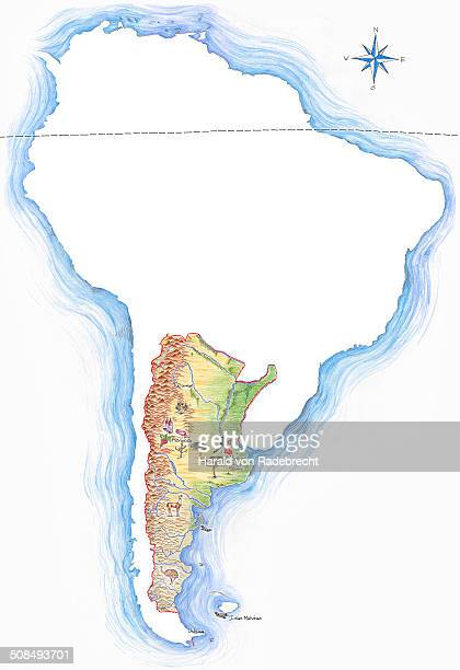 Highly detailed hand-drawn map of Argentina within the outline of South America with a compass rose and the equator