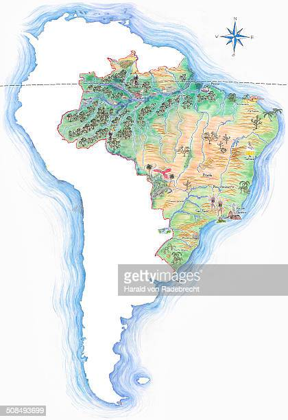 Highly detailed hand-drawn map of Brazil within the outline of South America with a compass rose and the equator