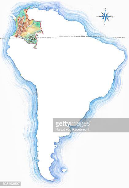 stockillustraties, clipart, cartoons en iconen met highly detailed hand-drawn map of colombia within the outline of south america with a compass rose and the equator - colombia
