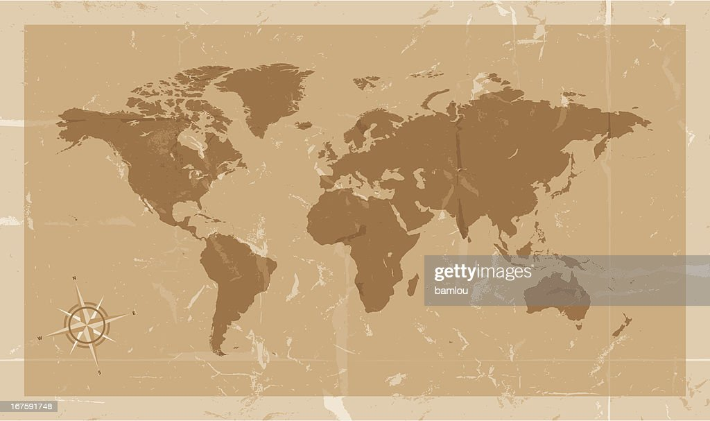 Highly detailed world map with compass vintage style vector art highly detailed world map with compass vintage style vector art gumiabroncs Gallery