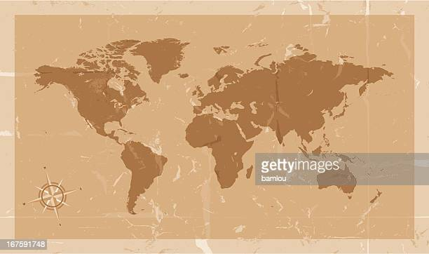 highly detailed world map with compass vintage style - pacific ocean stock illustrations, clip art, cartoons, & icons