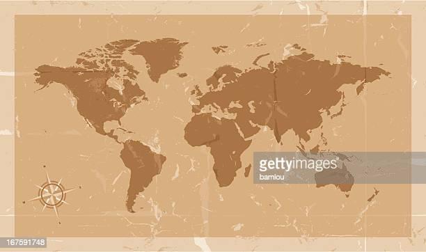 非常に詳細な世界地図、コンパスビンテージスタイル
