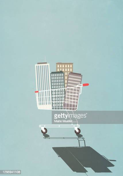highrise buildings in shopping cart - business stock illustrations