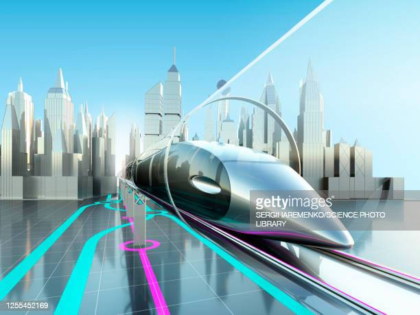 high-speed trains in tunnel, illustration - monorail stock illustrations