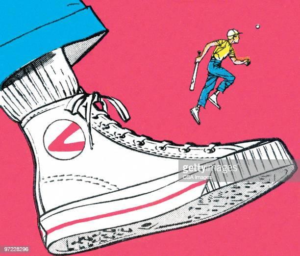 high-top shoe - sports shoe stock illustrations