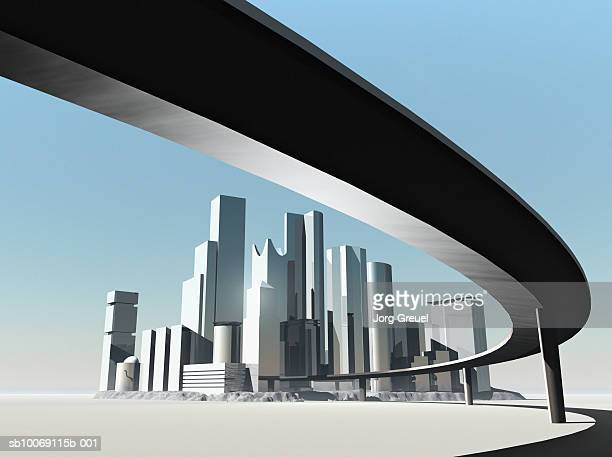 highway overpass and skyscrapers (digitally generated) - overpass road stock illustrations