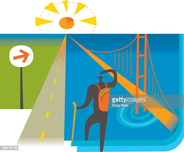 A hiker between highway and bridge leading to a pie chart sunset