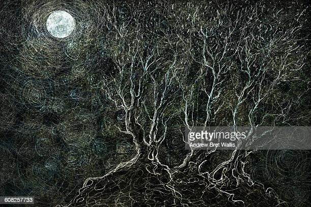hillside trees bathed in moon and starlight - digital composite stock illustrations