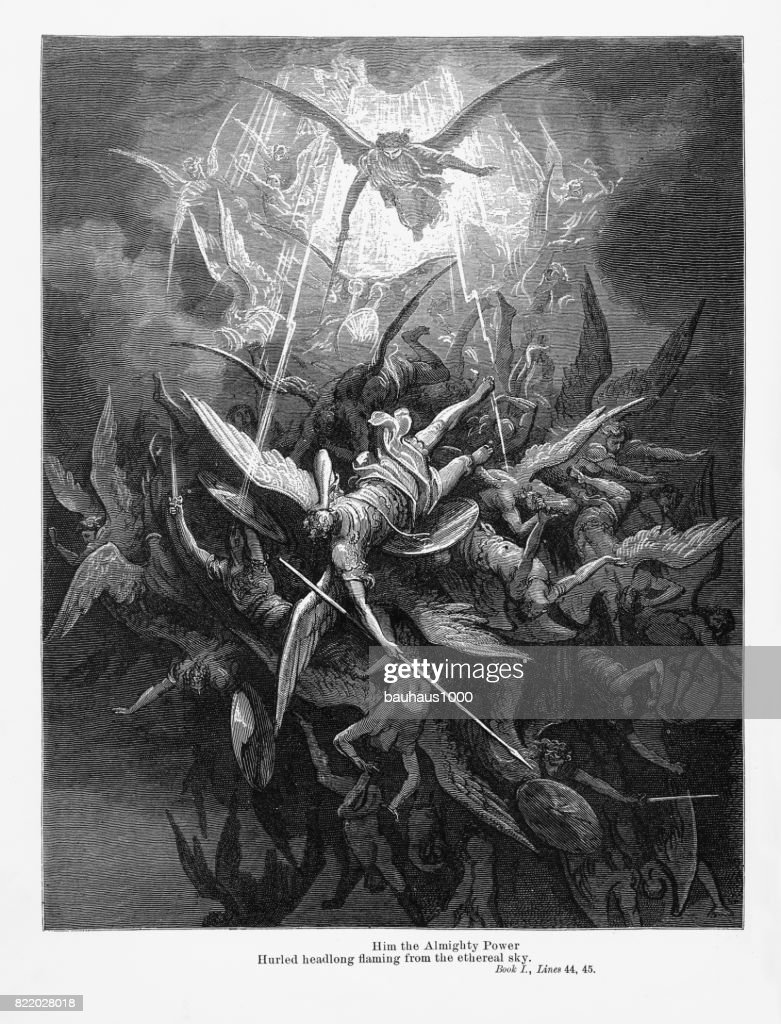 Him the almighty power Victorian Engraving, 1885 : stock illustration