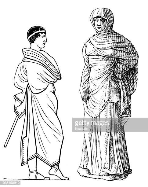 Himation was an outer garment worn by the ancient Greeks over the left shoulder and under the right.