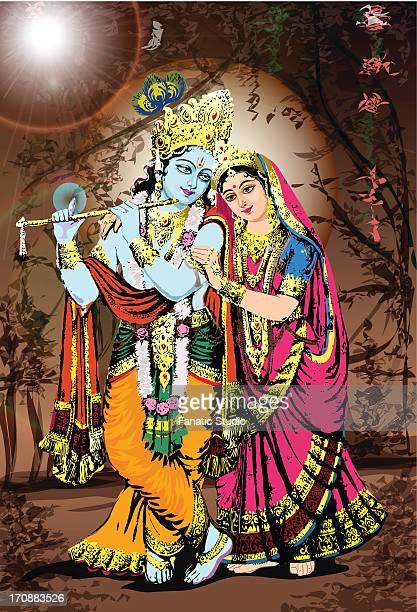 hindu god and goddess radha-krishna - lord krishna stock illustrations