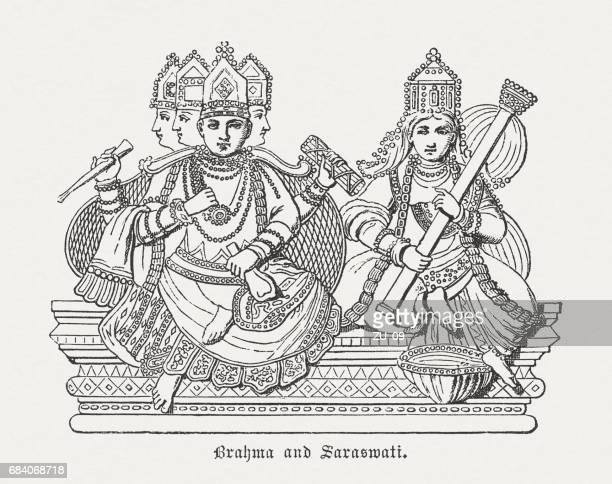 hindu god brahma and his wife saraswati, published in 1880 - hindu god stock illustrations