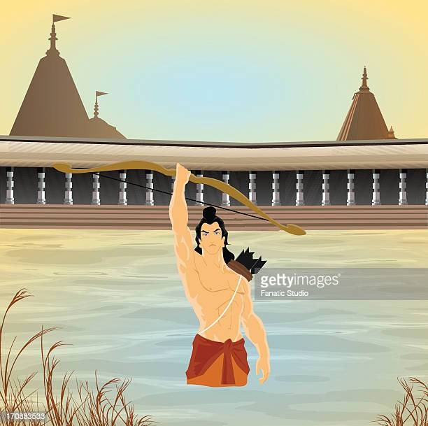 hindu god rama in a river - hinduism stock illustrations
