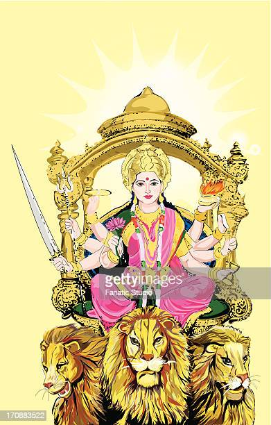 hindu goddess durga - goddess stock illustrations