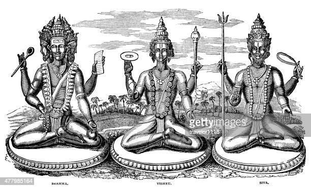 hindu gods brahma vishnu and siva - shiva stock illustrations