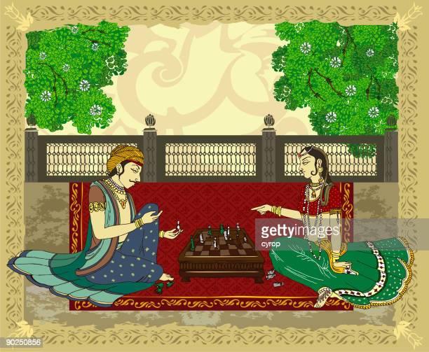 hindu princess and prince playing chess