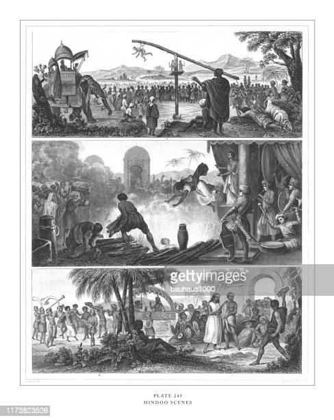 illustrazioni stock, clip art, cartoni animati e icone di tendenza di hindu scenes engraving antique illustration, published 1851 - penitente people