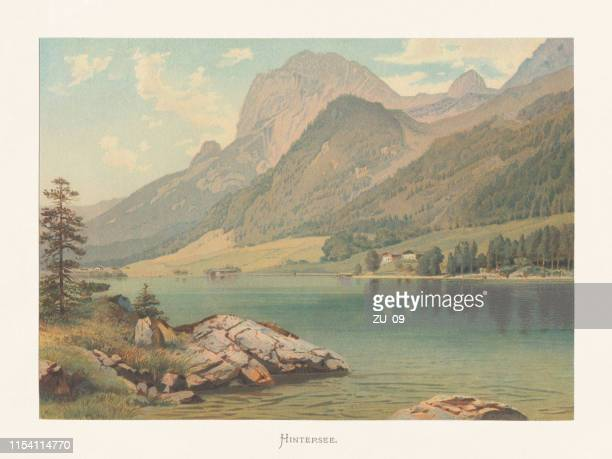 hintersee, ramsau, berchtesgaden land, bavaria, germany, chromolithograph, published circa 1874 - berchtesgaden stock illustrations