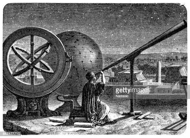 hipparchos in seinem observatorium in alexandria - astronomie stock-grafiken, -clipart, -cartoons und -symbole