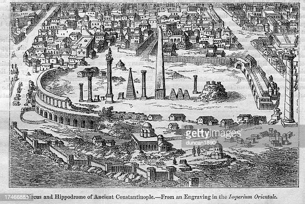hippodrome of ancient constantinople - byzantine stock illustrations