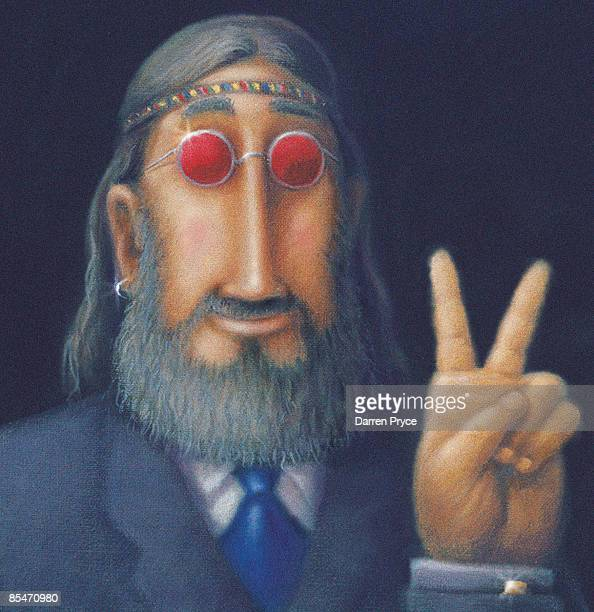 A hippy business man giving the peace sign