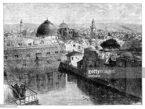 histias pond in jerusalem israel - lakeshore stock illustrations