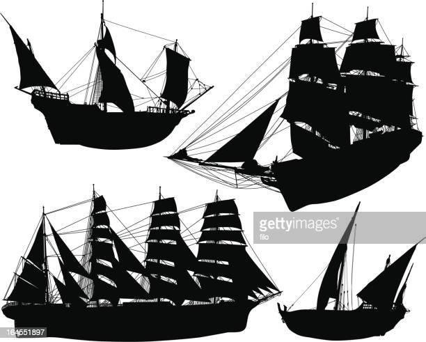 historial sailing ships - sail stock illustrations, clip art, cartoons, & icons