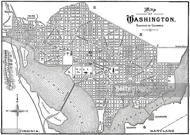 ilustraciones, imágenes clip art, dibujos animados e iconos de stock de histórico 1884 mapa de la ciudad de washington dc - monoimpresión