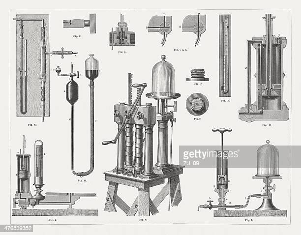 Historic air pumps, wood engravings, published in 1877