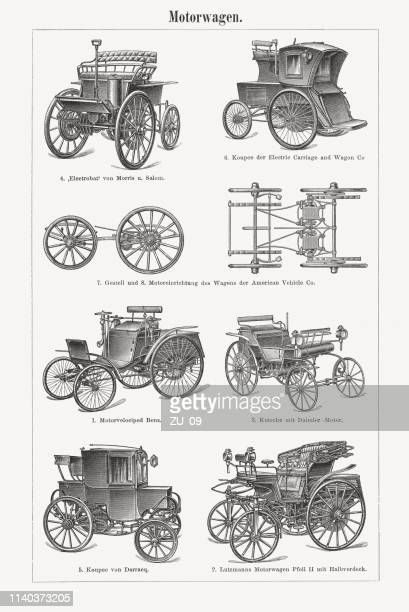 historic automobiles, wood engravings, published in 1898 - carriage stock illustrations