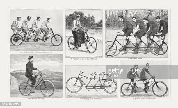 historische fahrräder, holzstiche, erschienen 1895 - erfindung stock-grafiken, -clipart, -cartoons und -symbole