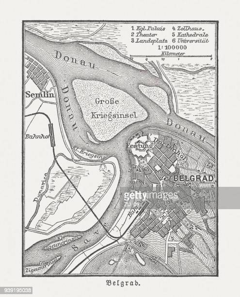 Historic city map of Belgrade, Serbia, wood engraving, published 1897