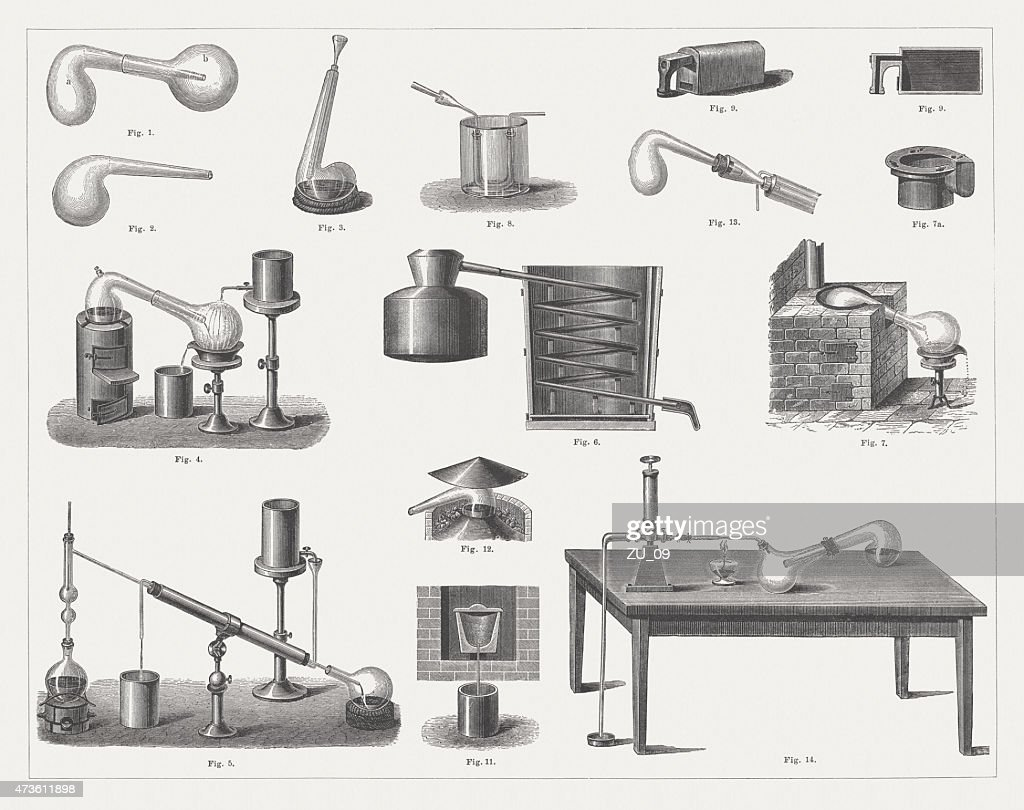 Historic Distillation Equipment, wood engravings, published in 1875 : stock illustration