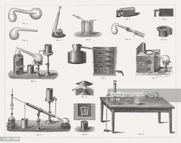historic distillation equipment, wood engravings, published in 1875 - distillation stock illustrations, clip art, cartoons, & icons