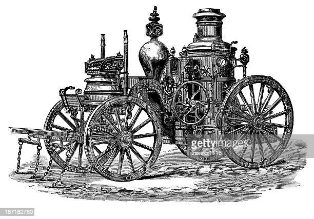 historic fire engine - fire engine stock illustrations, clip art, cartoons, & icons