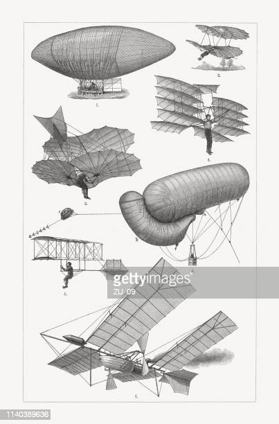 historic flying machines, wood engravings, published in 1898 - vintage airplane stock illustrations