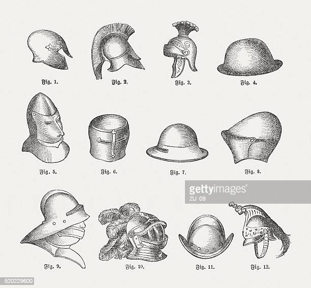 Historic helmets, wood engravings, published in 1884