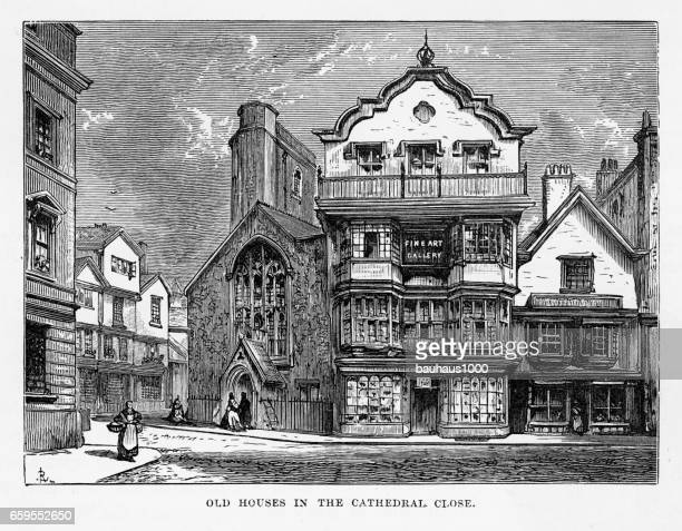 Historic Homes in Exeter, Devon, England Victorian Engraving, 1840