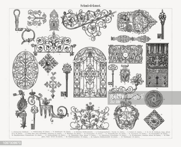 historic ironwork (gothic-, renaissance-, baroque-style), wood engravings, published 1897 - metal industry stock illustrations