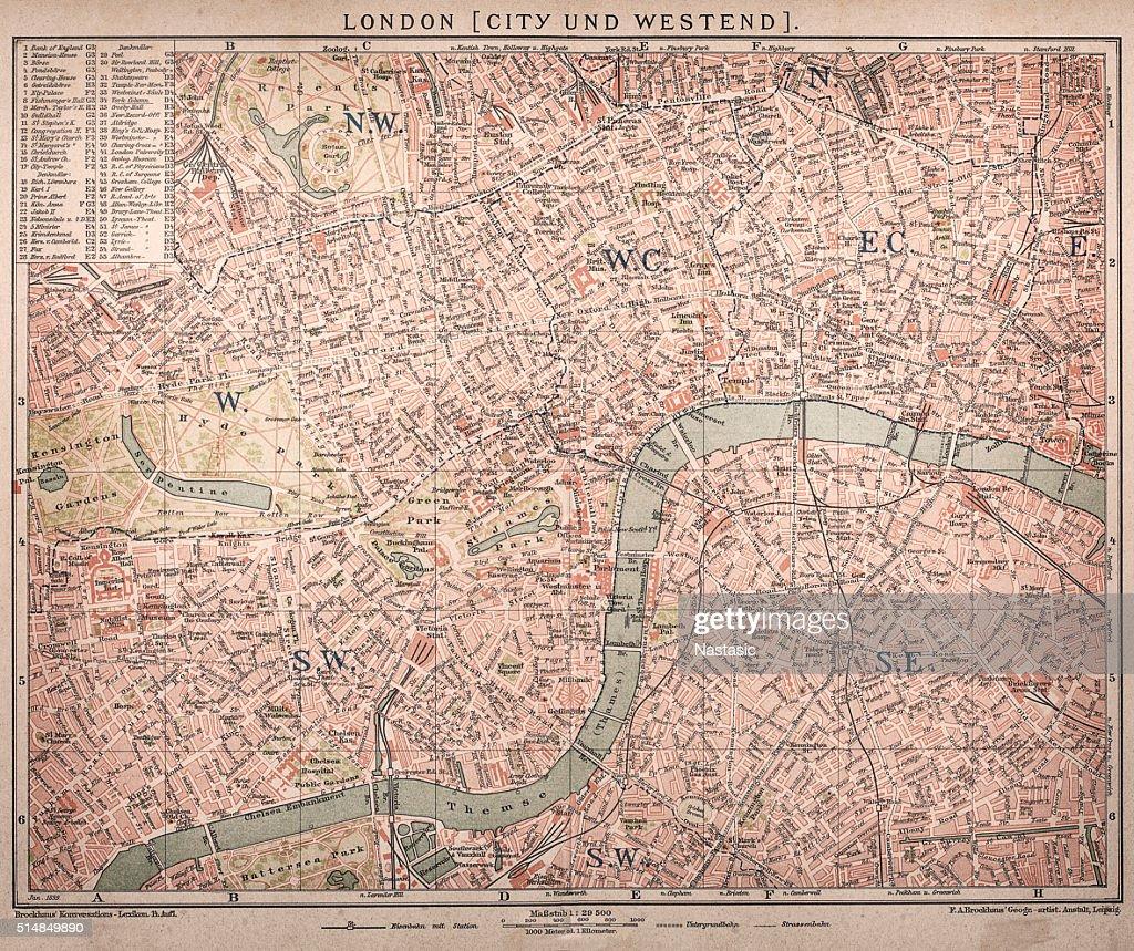 Historic map of London (18 世紀) : ストックイラストレーション