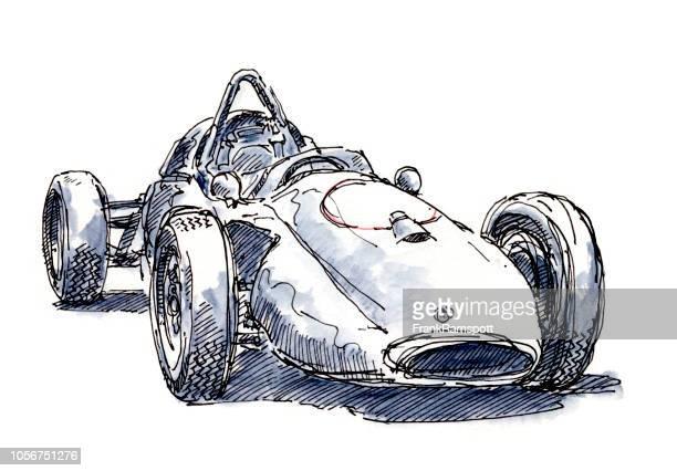 Historische Rennwagen Tinte, Zeichnung und Aquarell