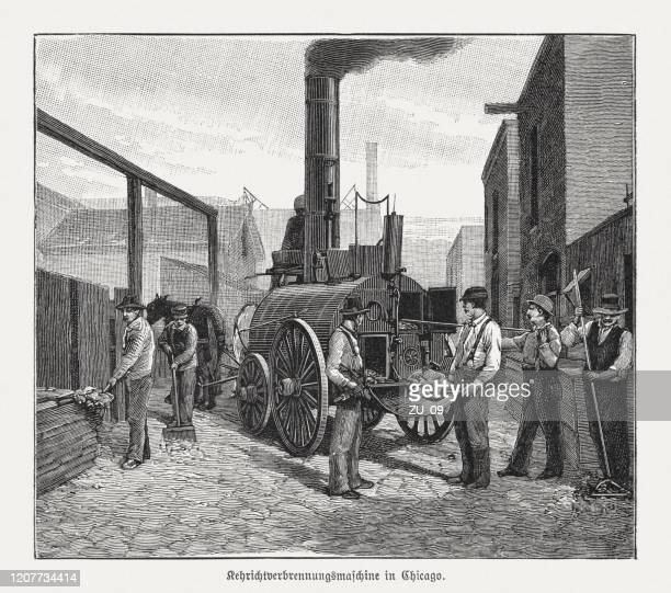 ilustrações de stock, clip art, desenhos animados e ícones de historic road sweepings incinerator in chicago, usa, woodcut, published 1895 - gari