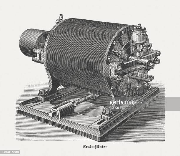 historic tesla motor with 12 poles, wood engraving, published 1898 - industrial revolution stock illustrations