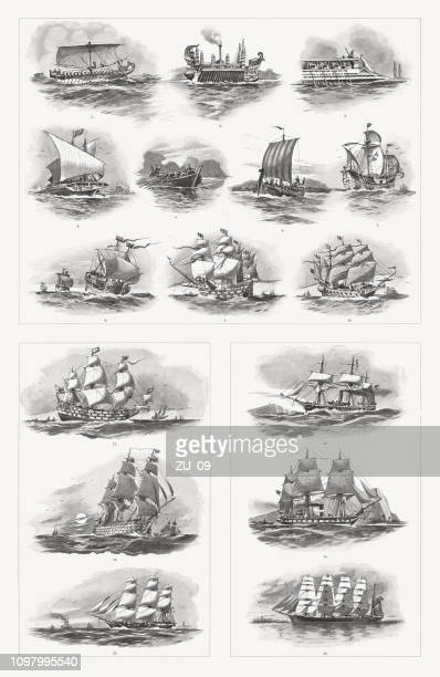 historic types of ships from antiquity to the 19th century - circa 14th century stock illustrations, clip art, cartoons, & icons
